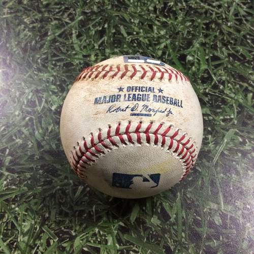 Photo of Game-Used Baseball BOS@MIL  05/10/17 - Chase Anderson - Mookie Betts: RBI Single