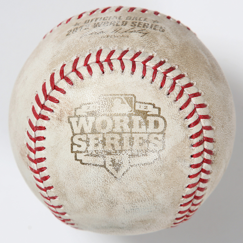 Photo of Game-Used Baseball: 2012 World Series Game 1 - Detroit Tigers at San Francisco Giants - Batter: Tim Lincecum, Pitcher: Jose Valverde - Bottom of 7, Foul Back to Screen