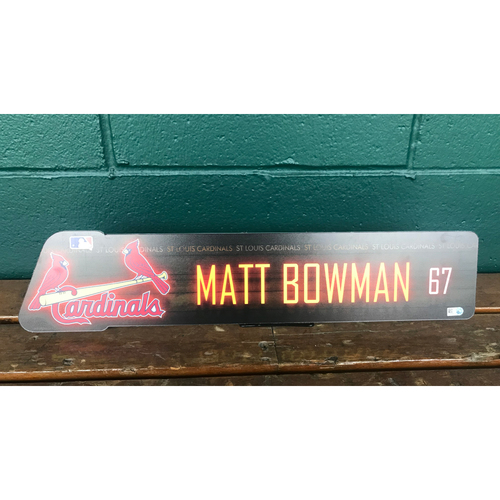 Photo of Cardinals Authentics: Matt Bowman Team issued Locker Name Plate