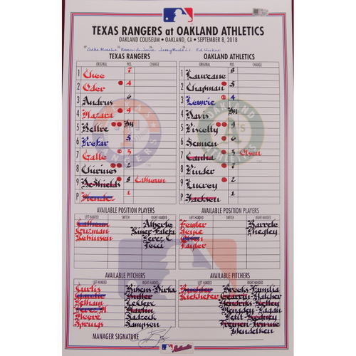 Rangers at Athletics - 9/8/18 - Game-Used Lineup Card