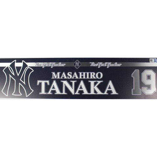 Photo of Masahiro Tanaka New York Yankees 2018 Game Used #19 Locker Room Nameplate (5/13/2018)