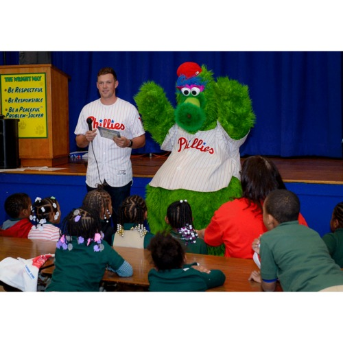 Photo of Take Phillies First Baseman Rhys Hoskins and the Phillie Phanatic to Your School