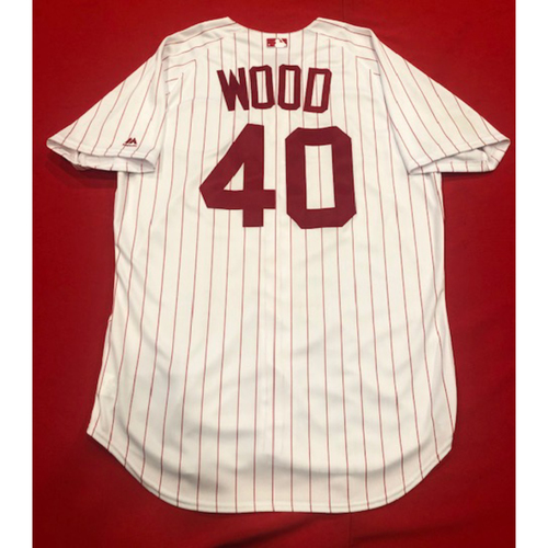 Photo of Alex Wood -- 1967 Throwback Jersey & Pants (Starting Pitcher: 4.2 IP, 2 R, 1 BB, 4 K) -- Game-Used for Rockies vs. Reds on July 28, 2019 -- Jersey Size: 46 / Pants Size: 35-42-19