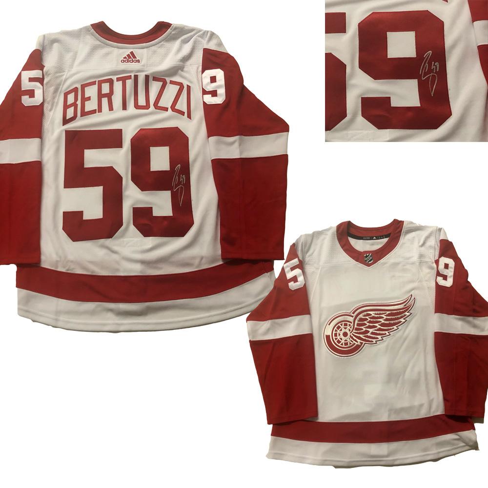 TYLER BERTUZZI Signed Detroit Red Wings White Adidas PRO Jersey