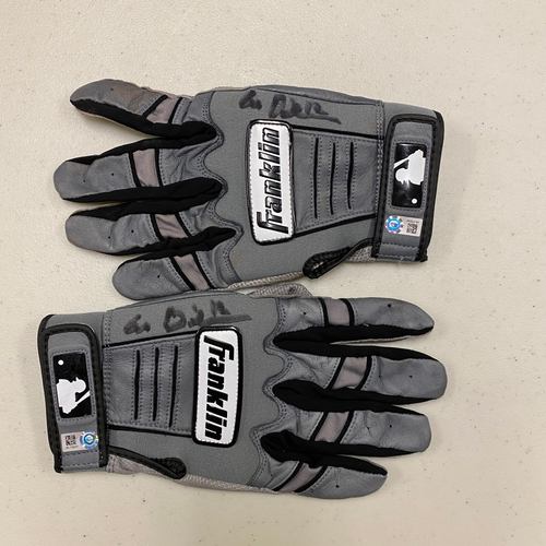 Photo of #12 Alex Dickerson Team Issued Autographed Gray Franklin Batting Gloves