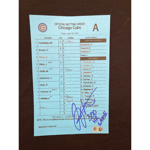 Photo of Joey Votto *Autographed & Inscribed* Visiting Team Official Batting Order Card -- Joey Votto's 300th Career Home Run Game -- CHC vs. CIN on 04/30/2021