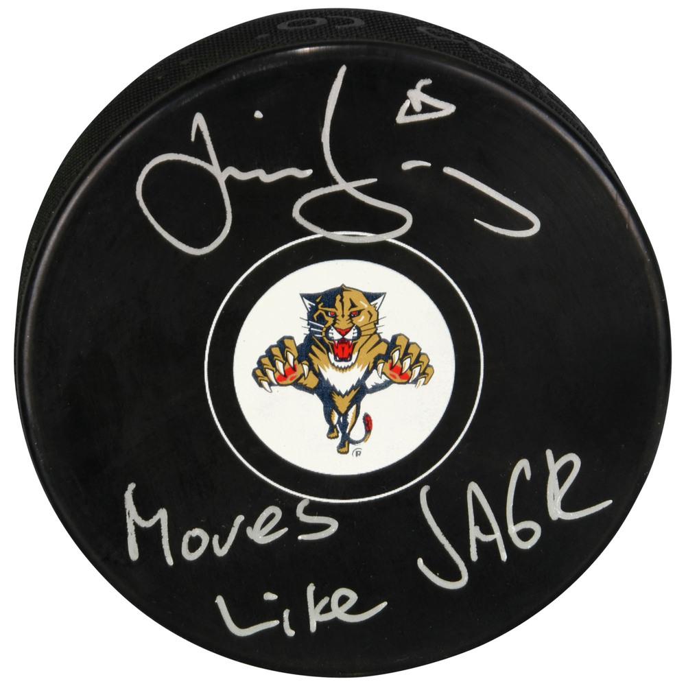Jaromir Jagr Florida Panthers Autographed Hockey Puck with Moves Like Jagr Inscription