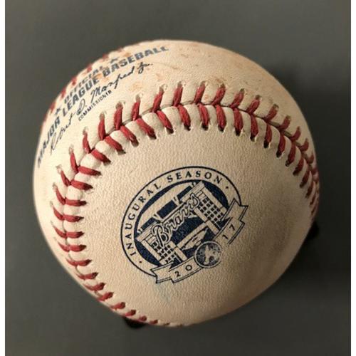 Johan Camargo Game-Used Hit Double Baseball - July 5, 2017