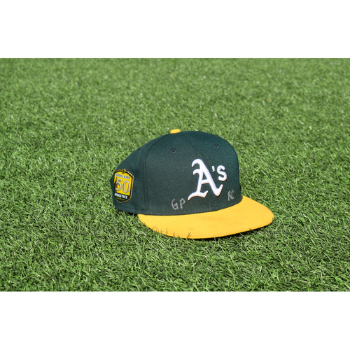 Photo of Oakland Athletics Game Used Jeremy Dowdy 50th Anniversary Cap