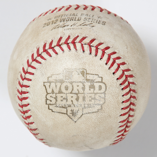 Photo of Game-Used Baseball: 2012 World Series Game 4 - San Francisco Giants at Detroit Tigers - Batter: Brandon Crawford, Pitcher: Drew Smyly - Top of 7, Foul Back to Screen
