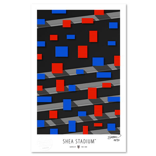 Photo of Shea Stadium - Collector's Edition Minimalist Art Print by S. Preston #119/350  - New York Mets