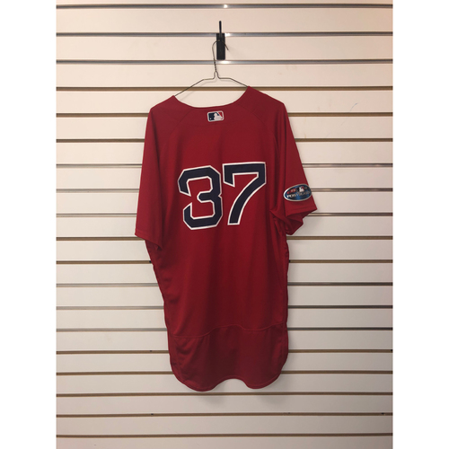 Photo of Heath Hembree Game Used October 6, 2018 Home Alternate Jersey