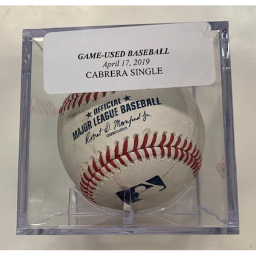 Game-Used Baseball: Miguel Cabrera Single