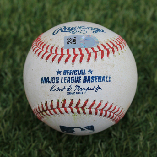 Photo of Game-Used Baseball: J.D. Davis 123rd Career Hit, Pete Alonso reaches on fielder's choice (NYM @ KC - 8/16/19)