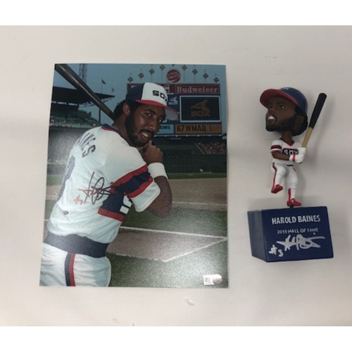 Photo of Harold Baines Autographed Bobblehead and Photo