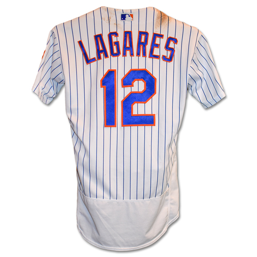 Photo of Juan Lagares #12 - Game-Used White Pinstripe Jersey - First Career Grand Slam - 2-4, 2 HR's, 6 RBI's and 2 Runs Scored - Mets vs. Diamondbacks - 9/12/19