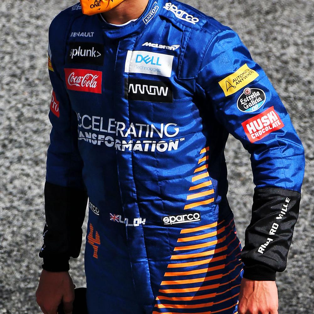 Lando Norris 2020 Framed Race-worn Race Suit - 70th Anniversary Grand Prix - McLaren