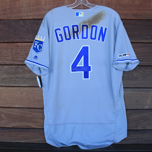 Photo of Game-Used and Autographed Jersey: Alex Gordon #4 - 1 for 3 (Single) (KC@MIA 9/6/19) - Size 46