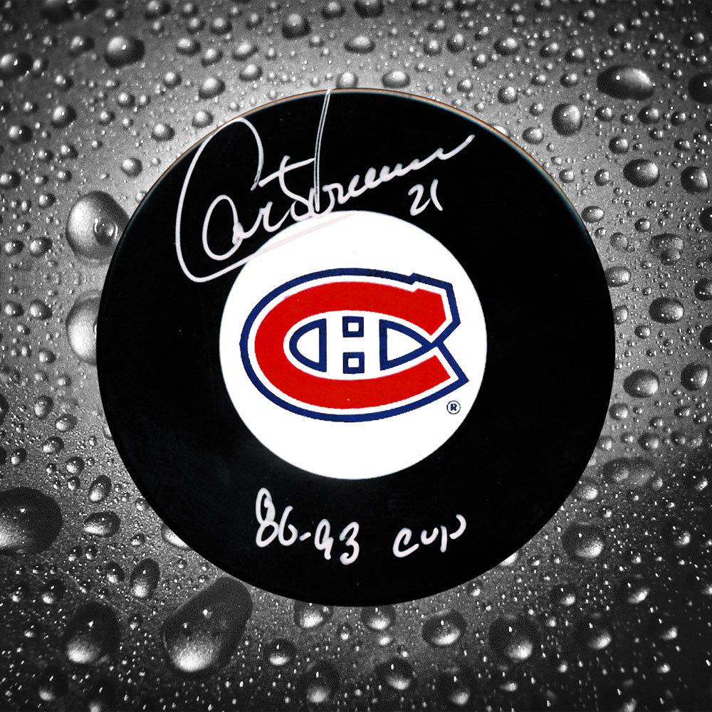 Guy Carbonneau Montreal Canadiens 86 & 93 Cup Autographed Puck