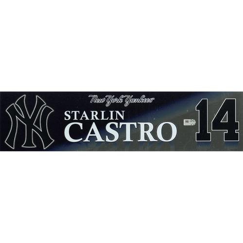 Photo of Starlin Castro New York Yankees Game-Used #14 Locker Nameplate (9/3/2017)