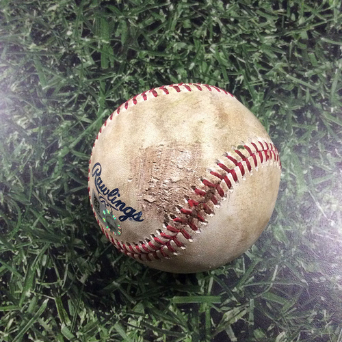 Photo of Game-Used Baseball PIT@MIL  05/05/18 - Josh Hader - Sean Rodriguez: Strikeout