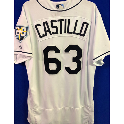 Photo of 20th Anniversary Game Used Home White Jersey: Diego Castillo - First MLB Win and Rookie Season Jersey