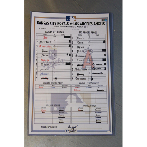 Photo of Game-Used Line-Up Card: KC at LAA - 6/4/18