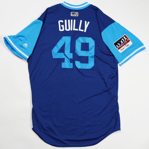 "Photo of Preston ""Guilly"" Guilmet Toronto Blue Jays Team Issued Jersey 2018 Players' Weekend Jersey"