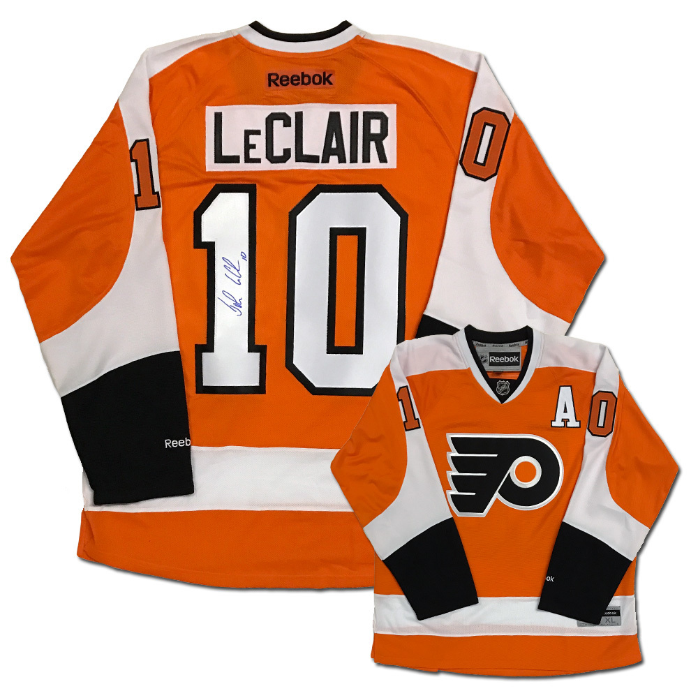 JOHN LECLAIR Signed Philadelphia Flyers Orange Reebok Jersey