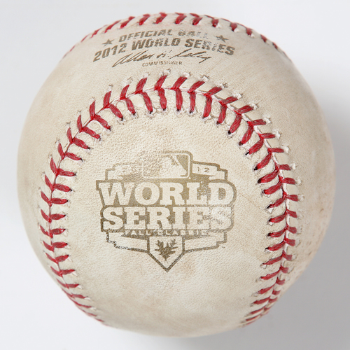 Photo of Game-Used Baseball: 2012 World Series Game 2 - Detroit Tigers at San Francisco Giants - Batter: Buster Posey, Pitcher: Doug Fister - Bottom of 4, Foul Tip in Dirt