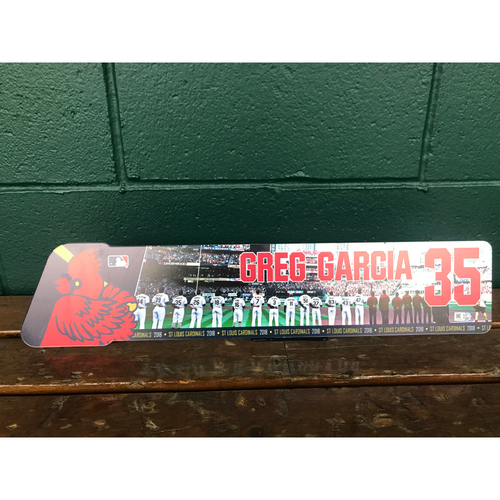 Photo of Cardinals Authentics: Greg Garcia Game Used Locker Name Plate