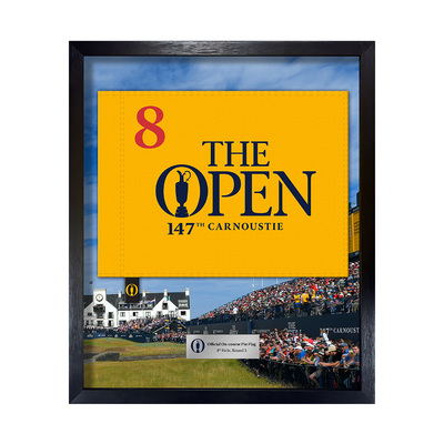 Photo of The 147th Open On-course Pin Flag, 8th Hole, Final Round Framed