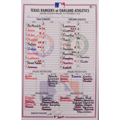 Rangers at Athletics - 9/9/18 - Game-Used Lineup Card