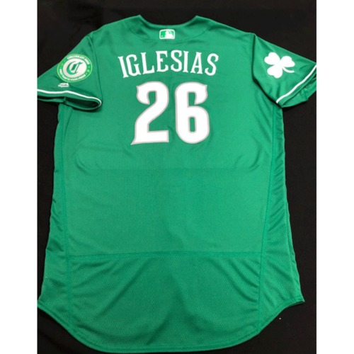 Photo of Raisel Iglesias -- Team-Issued Jersey -- 2019 St. Patrick's Day