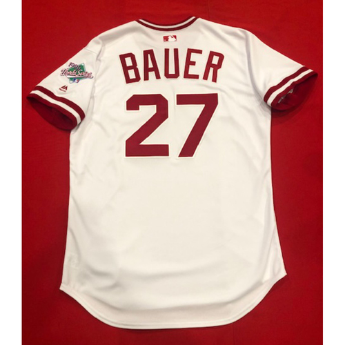 Photo of Trevor Bauer -- Team Issued 1990 Throwback Jersey -- Cardinals vs. Reds on Aug. 18, 2019 -- Jersey Size 46