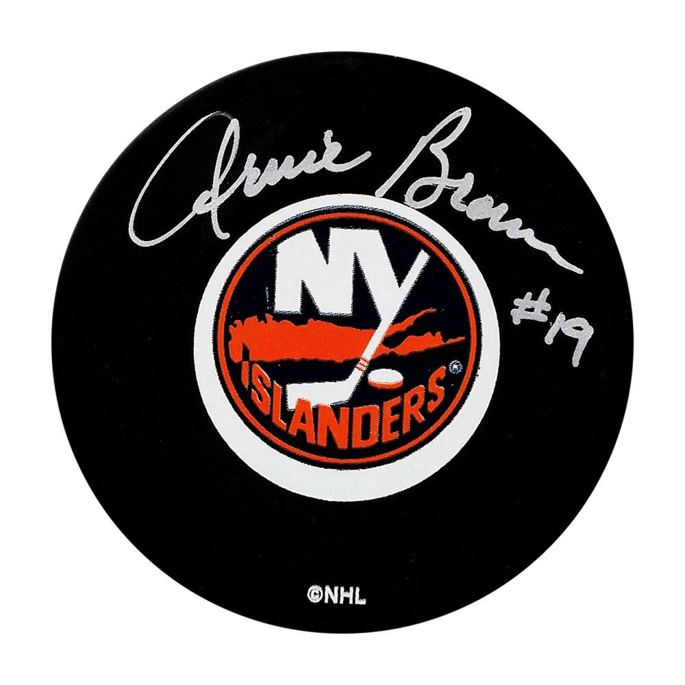 Arnie Brown Autographed New York Islanders Puck
