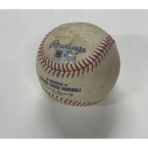 Photo of Game Used Baseball - Tigers at Indians - 8/22/2020 - Francisco Lindor Double (6) off pitcher Matt Boyd Bottom of 1st.