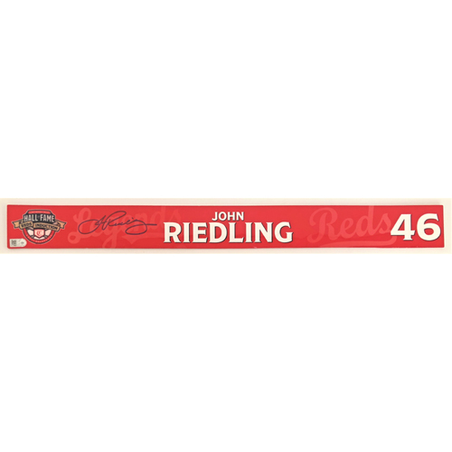 Photo of John Riedling - Game-used and Autographed Locker Name Plate: 2021 Cincinnati Reds Hall of Fame Legends Game
