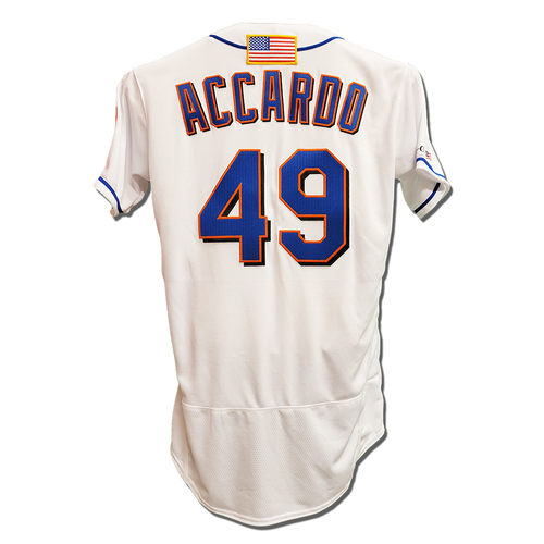 Photo of Jeremy Accardo #49 - Game Used White Commemorative Jersey with American Flag Patch - Mets vs. Yankees - 9/11/2021