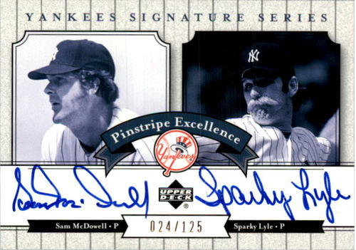 Photo of 2003 Upper Deck Yankees Signature Pinstripe Excellence Autographs #ML Sam McDowell/Sparky Lyle