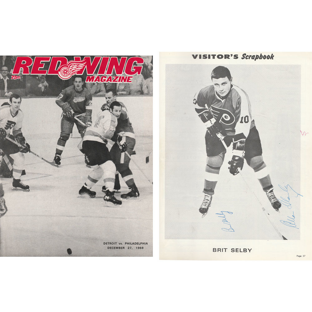 Detroit Red Wings Program - December 27, 1968 - Autographed by Brit Selby & Allan Stanley