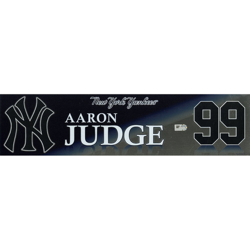 Photo of Aaron Judge New York Yankees Game-Used #99 Locker Nameplate (9/3/2017)