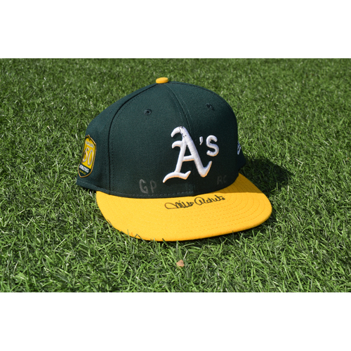 Photo of Oakland Athletics Game Used Autographed Mike Aldrete 50th Anniversary Cap