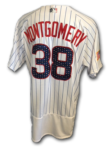 Photo of Mike Montgomery Stars and Stripes Game-Used Jersey -- Tigers vs. Cubs -- 7/4/18