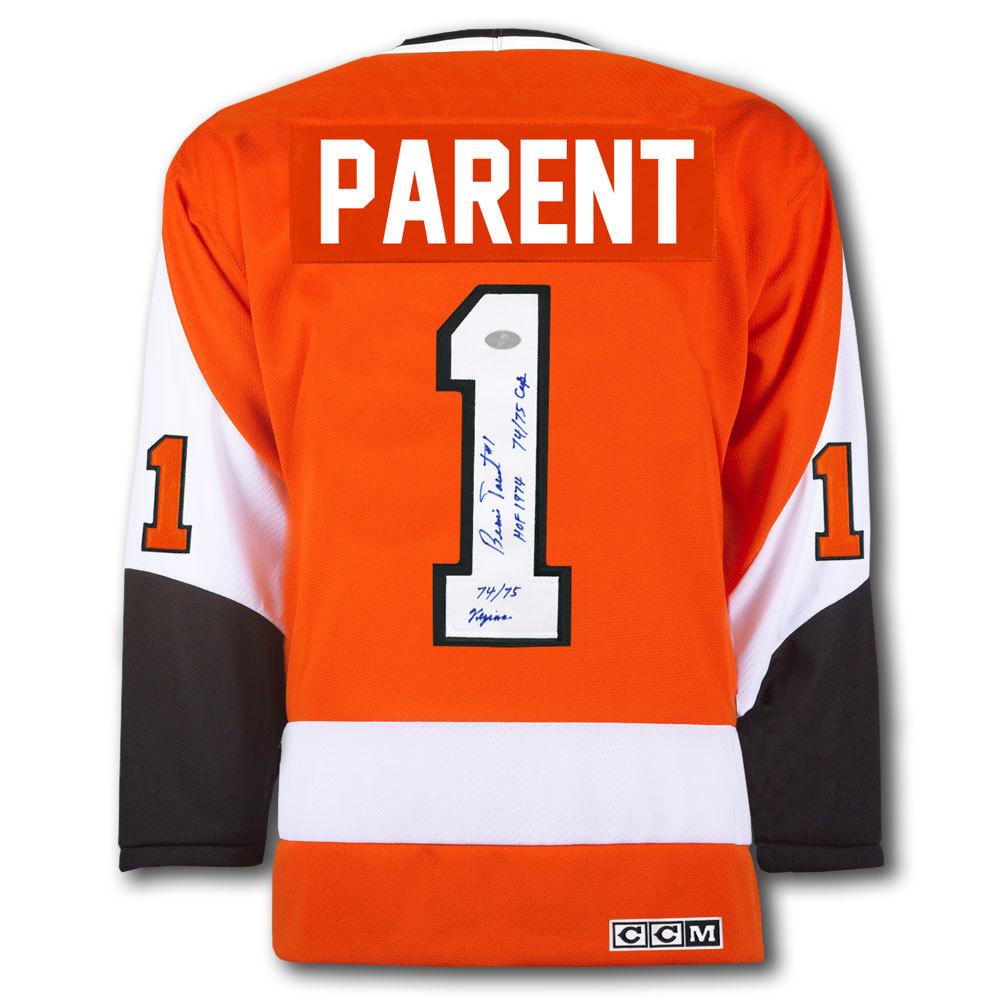 Bernie Parent Philadelphia Flyers STATS CCM Autographed Jersey