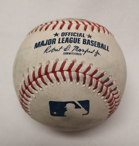 Photo of Authenticated Game Used Baseball - Ball to Manny Machado by Aaron Sanchez (June 9, 2018; Top 1).