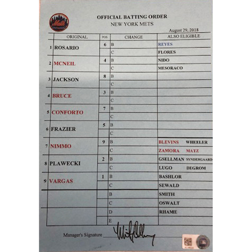 Photo of Official Visitor's Batting Order Card -- Mets vs. Cubs -- 8/29/18 -- Signed by Mickey Callaway