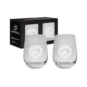 Toronto Blue Jays 2 Pack of Etched Stemless Wine Glasses by The Sports Vault