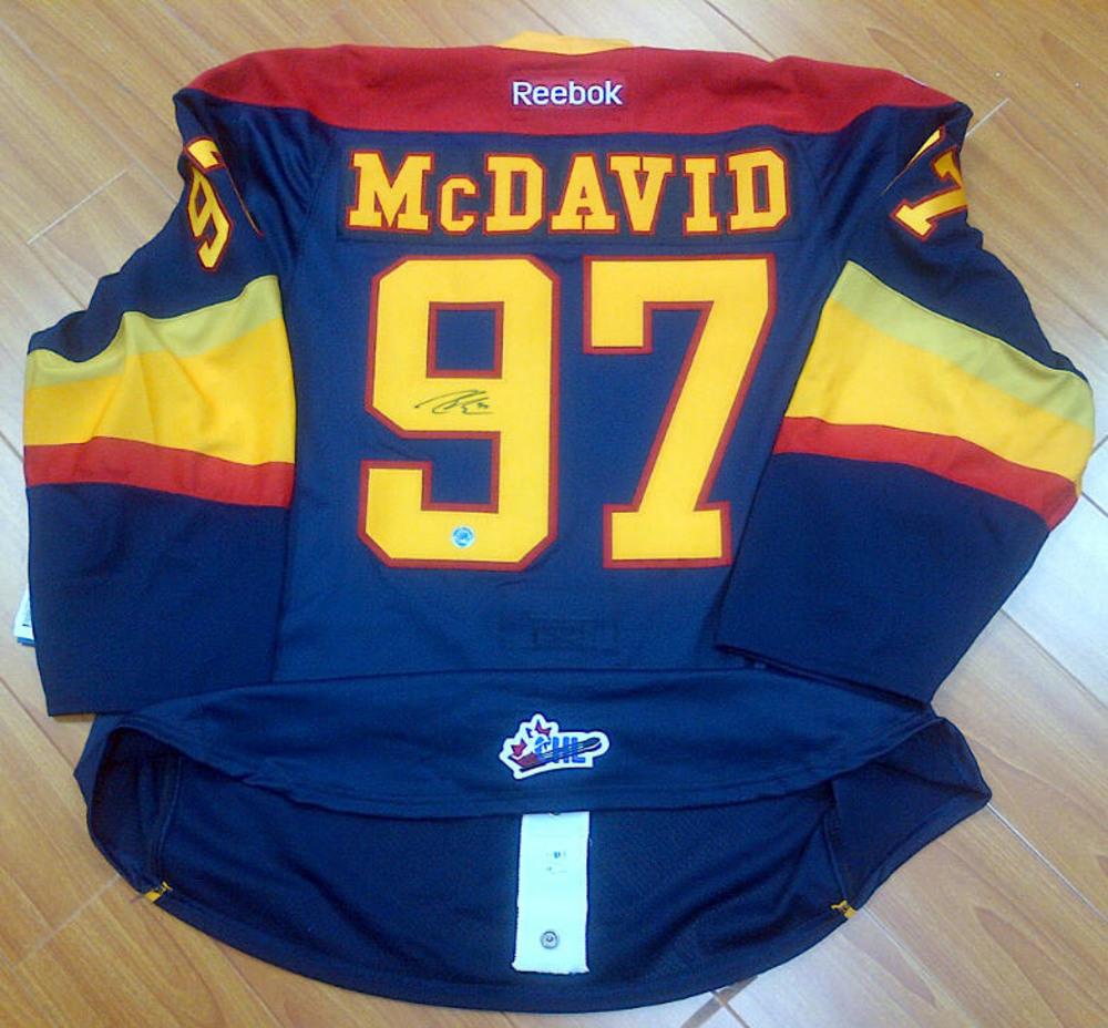 reputable site 37e3d 3d20b CONNOR MCDAVID Erie Otters Autographed Reebok Premier ...