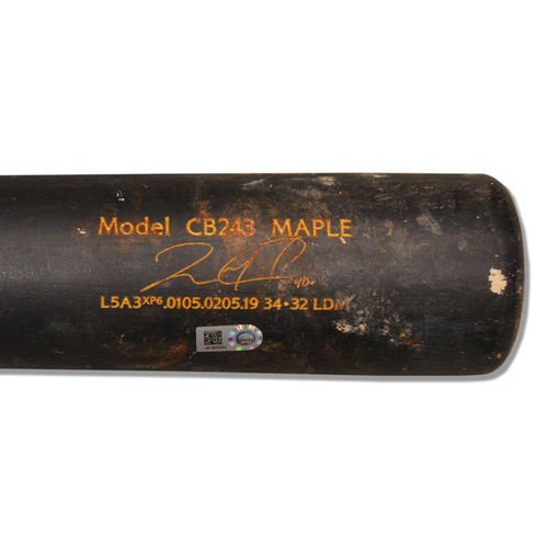 Photo of Wilson Ramos #40 - Game Used Cracked Black Chandler Bat - Mets vs. Marlins - 4/1/2019